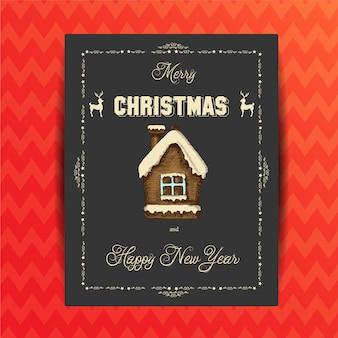 Weihnachtsgrußkarte mit einer aufschrift und einem festlichen lebkuchen