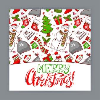 Weihnachtsgrußkarte mit feiertagsattributen. handgezeichnete illustration
