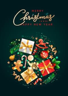 Weihnachtsgrußkarte mit feiertagsgegenständen. frohe weihnachten und ein glückliches neues jahr.