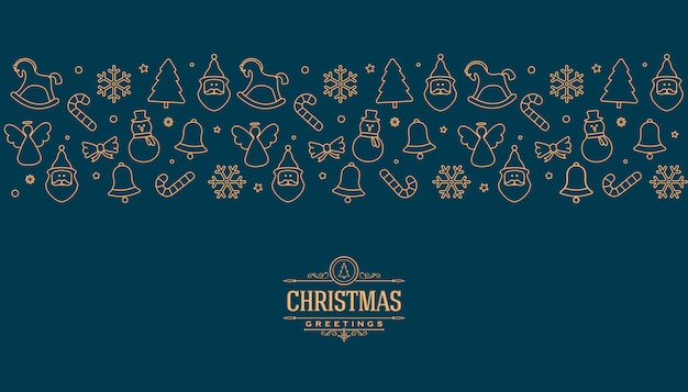 Weihnachtsgrußkarte mit goldlinie elementen