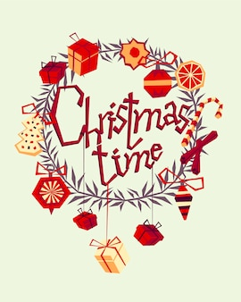Weihnachtsgrußkarte mit handgezeichneten dekorativen elementen und seufzer. trendy vintage-stil.