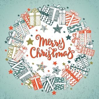 Weihnachtsgrußkarte mit handgezeichneten verzierten geschenken