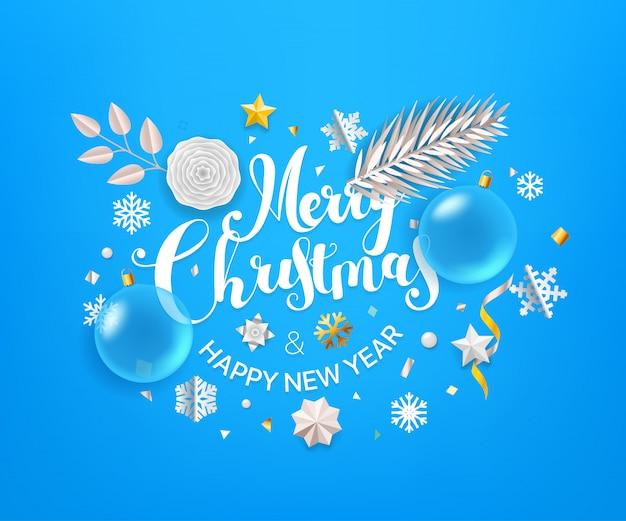 Weihnachtsgrußkarte mit kalligraphischem logo. frohe weihnachten und ein glückliches neues jahr