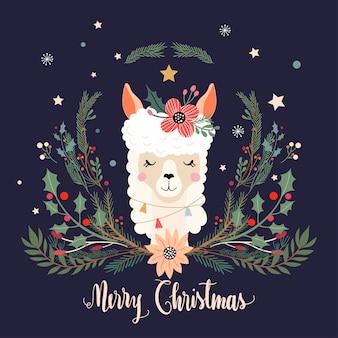 Weihnachtsgrußkarte mit lama