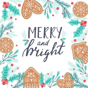Weihnachtsgrußkarte mit lebkuchen und zweigen auf holzuntergrund ingwerplätzchen-kiefer