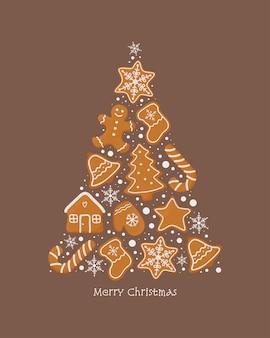 Weihnachtsgrußkarte mit lebkuchenplätzchen.
