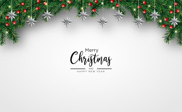 Weihnachtsgrußkarte mit licht realistischen dekorativen elementen weihnachtshintergrund