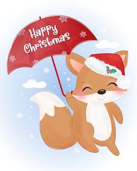 Weihnachtsgrußkarte mit niedlichem babyfuchs fliegen