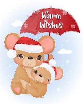 Weihnachtsgrußkarte mit niedlichen mama- und babymäusen