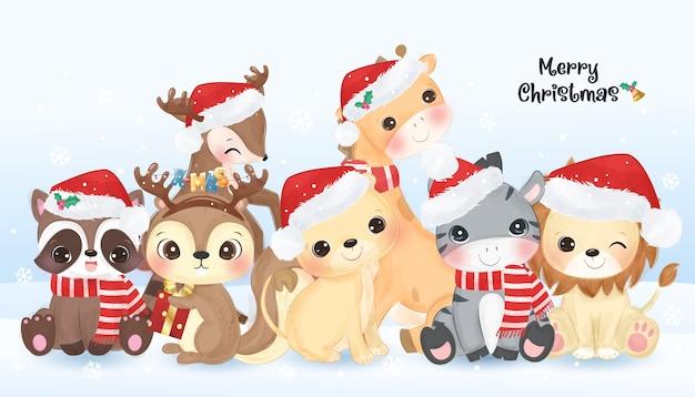 Weihnachtsgrußkarte mit niedlichen wilden tieren zusammen
