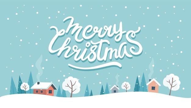 Weihnachtsgrußkarte mit niedlicher landschaft und beschriftung