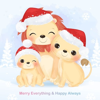 Weihnachtsgrußkarte mit niedlicher löwenfamilie. weihnachtshintergrundillustration.