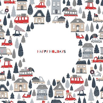 Weihnachtsgrußkarte mit platz für text. häuser und autos mit geschenken und weihnachtsbäumen.