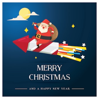 Weihnachtsgrußkarte, mit sankt geht zum mond mit rakete