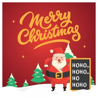Weihnachtsgrußkarte, mit sankt und seiner tafel