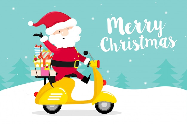 Weihnachtsgrußkarte mit santa claus mit motorrad