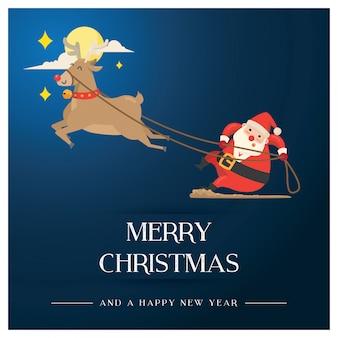 Weihnachtsgrußkarte mit santa & comet