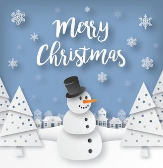Weihnachtsgrußkarte mit schneemann im papier schnitt artvektorillustration