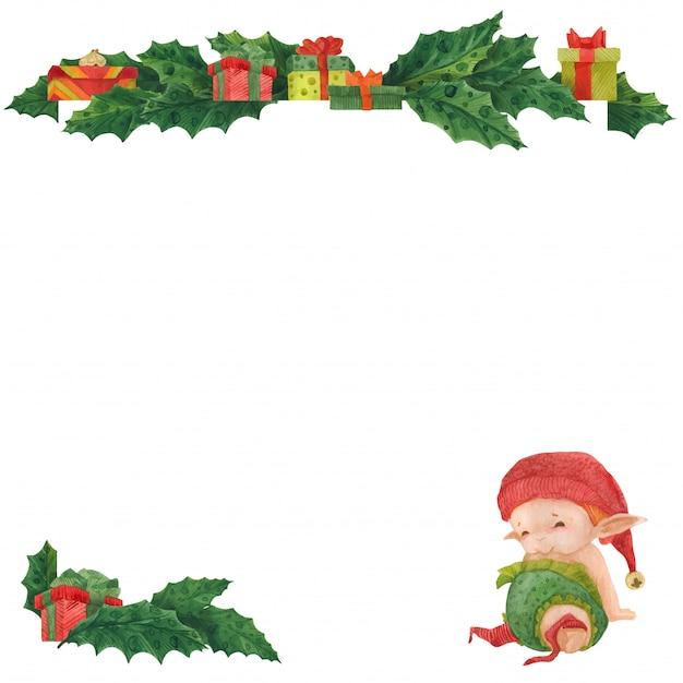 Weihnachtsgrußkarte mit stechpalme und babyelf