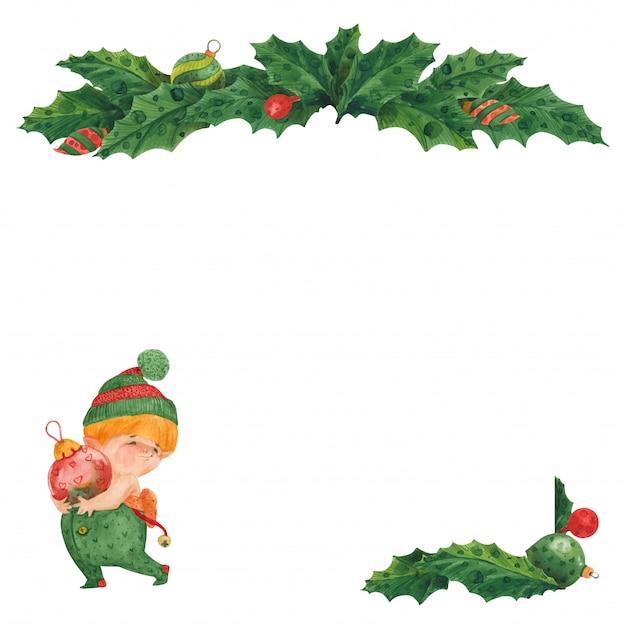 Weihnachtsgrußkarte mit stechpalme und elfe mit glaskugeln