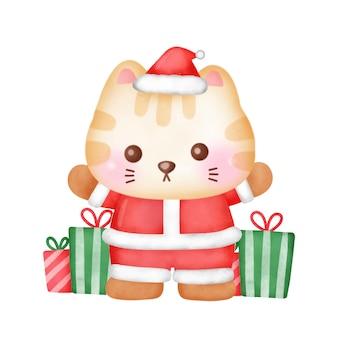 Weihnachtsgrußkarte mit süßer katze im aquarellstil.