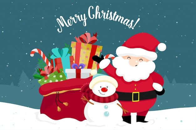 Weihnachtsgrußkarte mit weihnachten santa claus, schneemann und geschenken. vektor-illustration