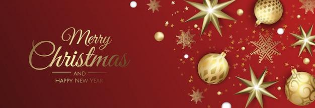 Weihnachtsgrußkarte mit weihnachtskugeln, -schneeflocke und -konfettis