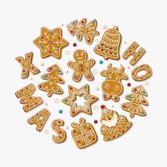 Weihnachtsgrußkarte mit weihnachtslebkuchenplätzchen auf einem weißen hintergrund. illustration..