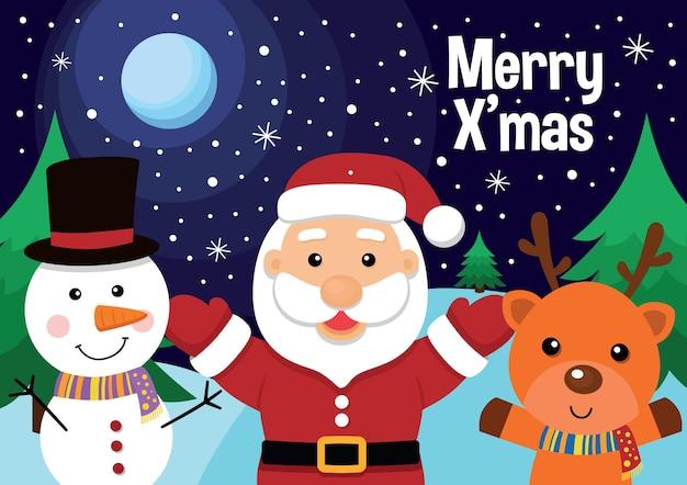 Weihnachtsgrußkarte mit weihnachtsmann-schneemann und rentier-vektor-illustration