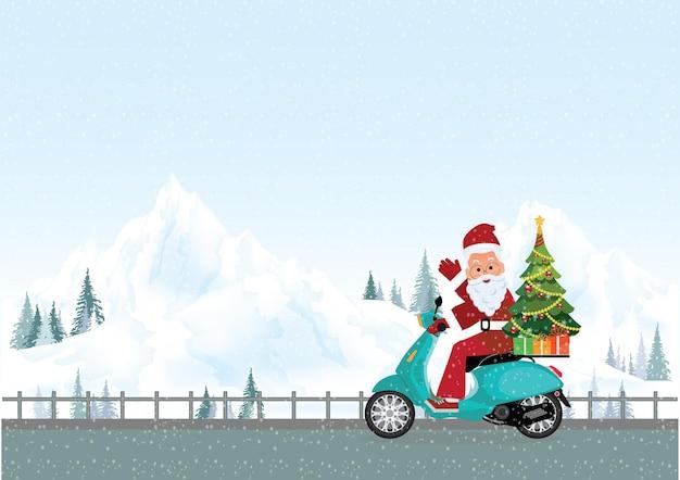 Weihnachtsgrußkarte mit weihnachtsweihnachtsmann, der ein motorrad auf straße im winter, weihnachten und neujahrsdekoration vektorillustration reitet.