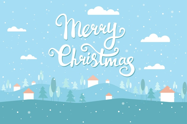 Weihnachtsgrußkarte mit winterlandschaft schneehimmel beherbergt weihnachtsbäume vektor flach