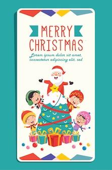 Weihnachtsgrußkarte mit zeichentrickfiguren