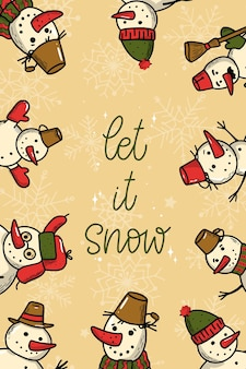 Weihnachtsgrußkarte mit zitat und schneemännern