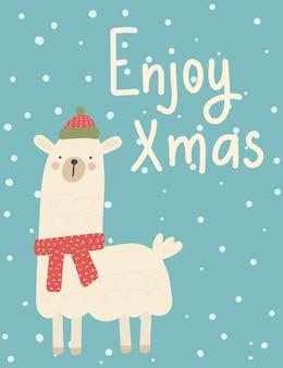 Weihnachtsgrußkarte. nette winterferienpostkarte. cartoon-lama mit wünschen.