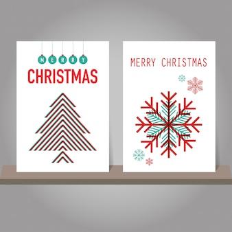 Weihnachtsgrußkarte oder -einladungssatz. modernes design.