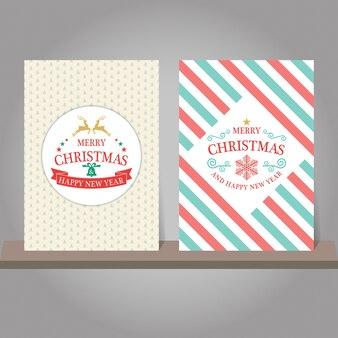 Weihnachtsgrußkarte oder -einladungssatz. vintage-design.