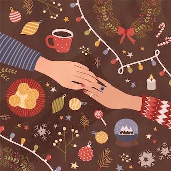 Weihnachtsgrußkarte oder postkartenschablone mit händchenhalten