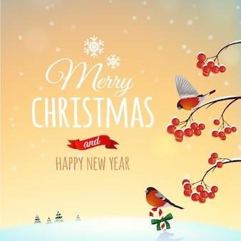 Weihnachtsgrußkarte, plakat. dompfaffvogel auf einer winterlandschaft und einem busch mit beeren. . frohe weihnachten und ein glückliches neues jahr