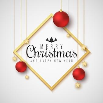 Weihnachtsgrußkarte. rote kugeln und goldene sterne.