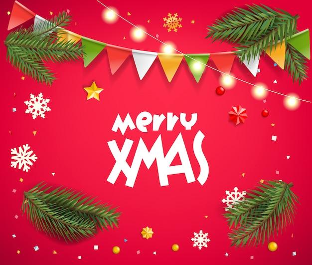Weihnachtsgrußkarte. saisonwünsche mit verschiedenen urlaubszubehören.
