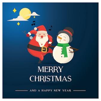 Weihnachtsgrußkarte, sankt-tanzen und der singende schneemann