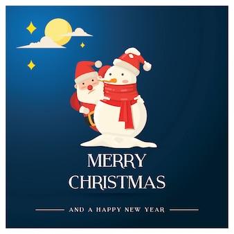 Weihnachtsgrußkarte, sankt und schneemann