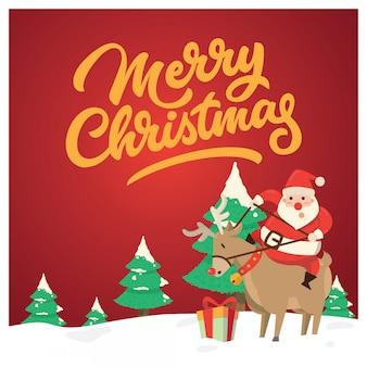 Weihnachtsgrußkarte, santa & comet