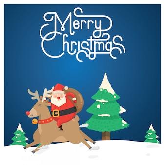 Weihnachtsgrußkarte, santa & dasher