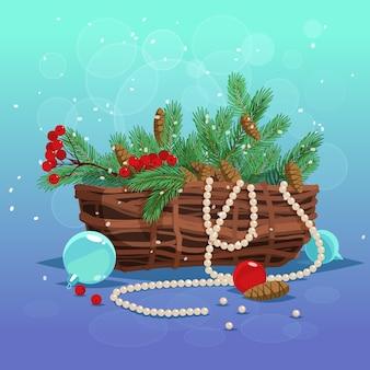 Weihnachtsgrußkarte. satz korb von tannenzweigen, beeren und zapfen und weihnachtskugeln Premium Vektoren