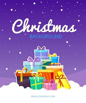 Weihnachtsgrußkarte. schneewetter mit geschenken färbte pakete mit bändern und bogenkarikaturvektor