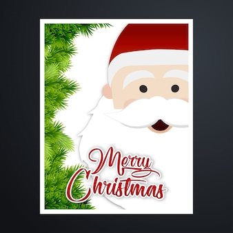 Weihnachtsgrußkarte-typografie mit weihnachtsmann-gesicht