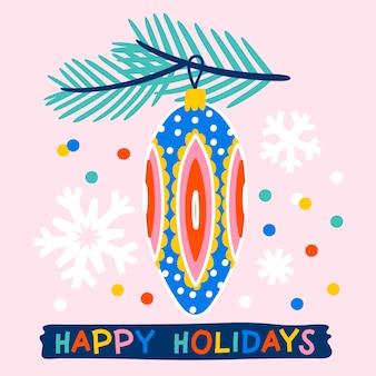 Weihnachtsgrußkarte verziert mit mit kugelnkugeltannenzweigen und konfetti-rosa hintergrund