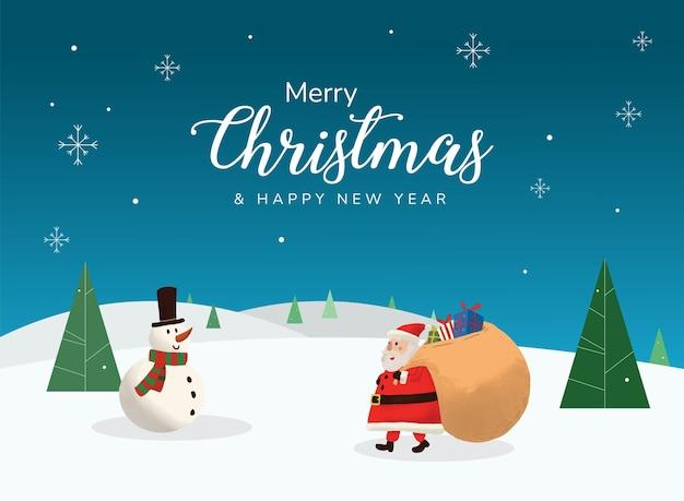 Weihnachtsgrußkarte weihnachtsmann hand gezeichneter landschaftshintergrund