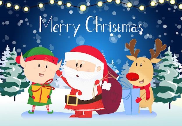 Weihnachtsgrußkarte. weihnachtsmann mit sack